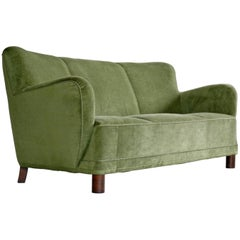 Danish, 1940s Mogens Lassen Attributed Sofa in Mohair Velvet