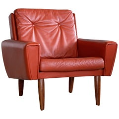 Danish Midcentury Lounge Chair in Red Leather Manner of Illum Wikkelso