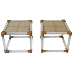 Pair of Lucite and Wicker Rattan End Tables