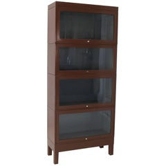Mid-Century Modern Tall Metal Six Sections Barrister Bookcase Cabinet