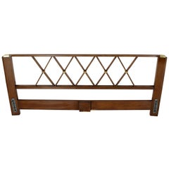 King-Size Headboard Bed 'X' Pattern Walnut and Brass