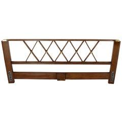 King-Size Headboard Bed 'X' Pattern Walnut and Brass