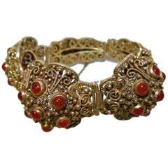 Early 20th Century Chinese Silver Gold Gilt Bracelet with 26 Carnelian Stones
