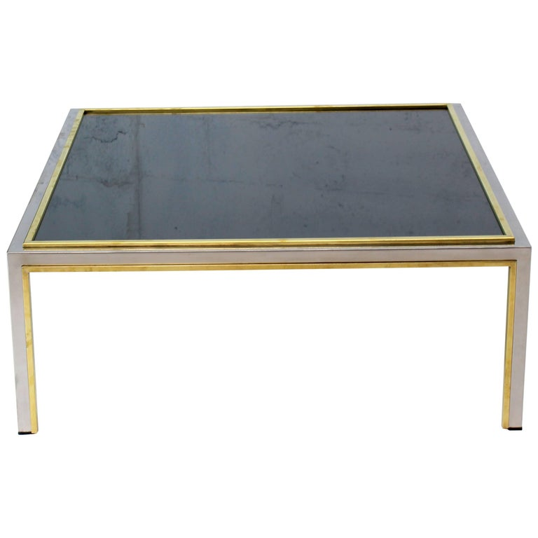 Willy Rizzo Coffee Table.Brass Chrome Smoked Glass Willy Rizzo Square Coffee Table