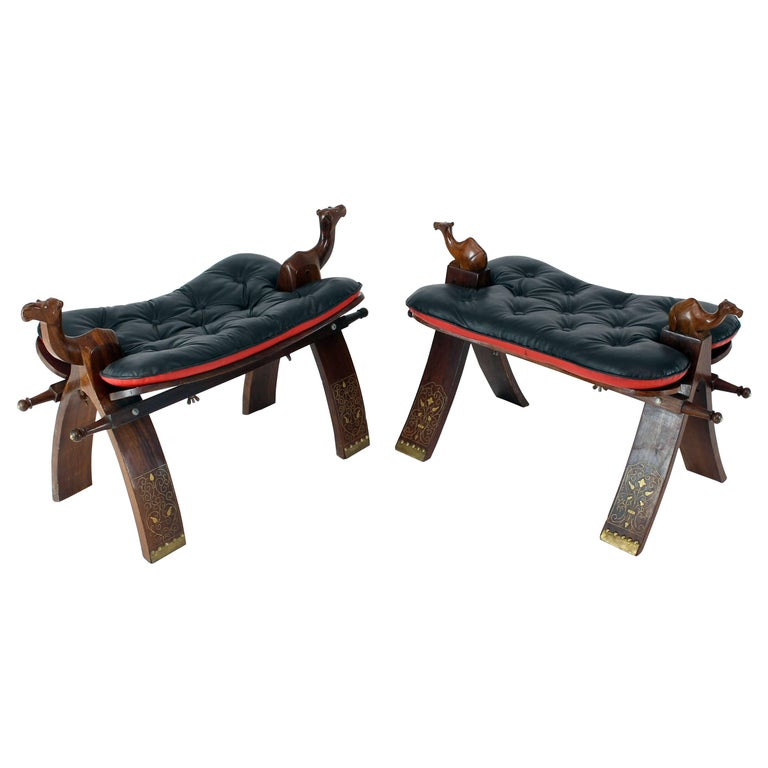 Pair of Carved Rosewood Camel Benches Stools