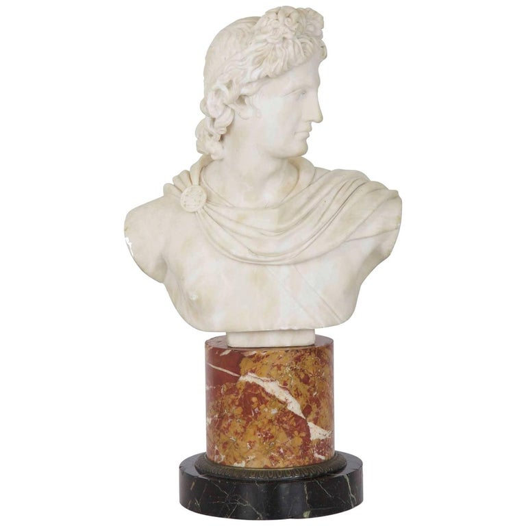 19th Century Grand Tour Italian Marble Bust of Apollo Belvedere
