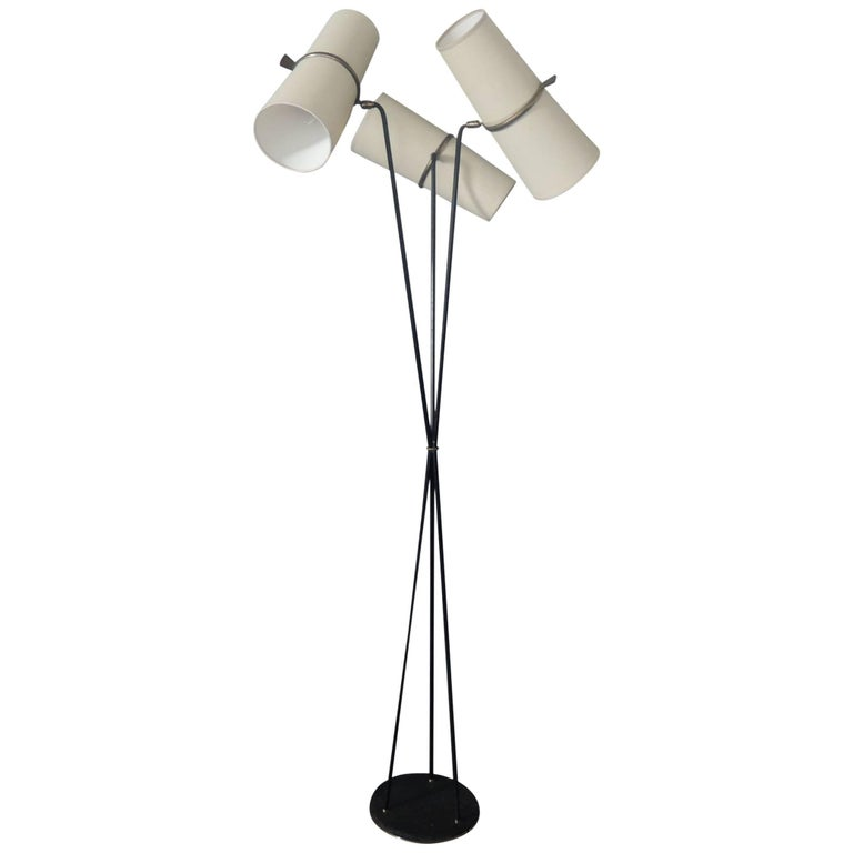 Fine French 1950s Three-Stems Floor Lamp by Maison Lunel