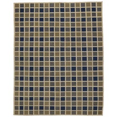 Vintage Turkish Kilim Area Rug with Square Buffalo Plaid Pattern