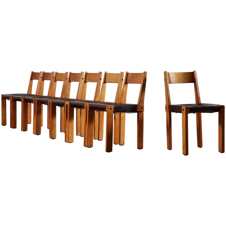Set of Eight Wood and Leather Dining Chairs by Pierre Chapo