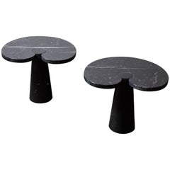 Pair of Marquina Marble Eros Occasional Tables by Angelo Mangiarotti for Skipper