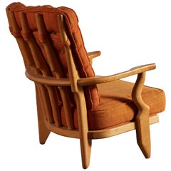 Sculptural Wood Lounge Chair by Guillerme et Chambron