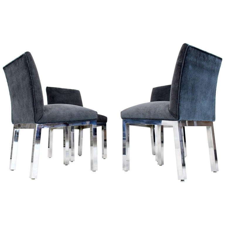 Set of Four Chrome and Mohair Upholstery Dining Side Chairs
