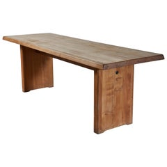 Patinated Wood Dining Table by Pierre Chapo