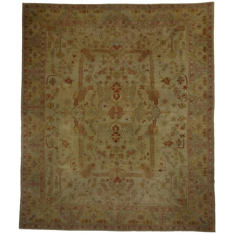 Contemporary Turkish Oushak Area Rug with Rustic Luxury Style