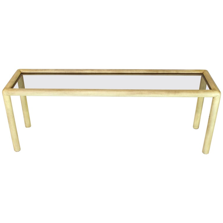 Large or Long Faux Parchment Console Table by Phyllis Morris