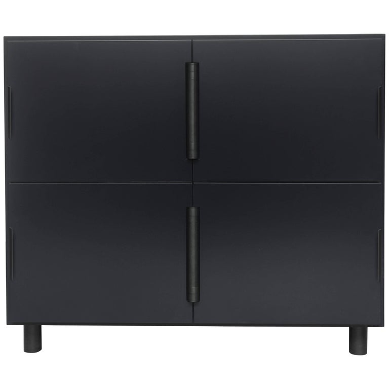 Contemporary Grey Nocturne Cabinet with Blackened Steel Hardware