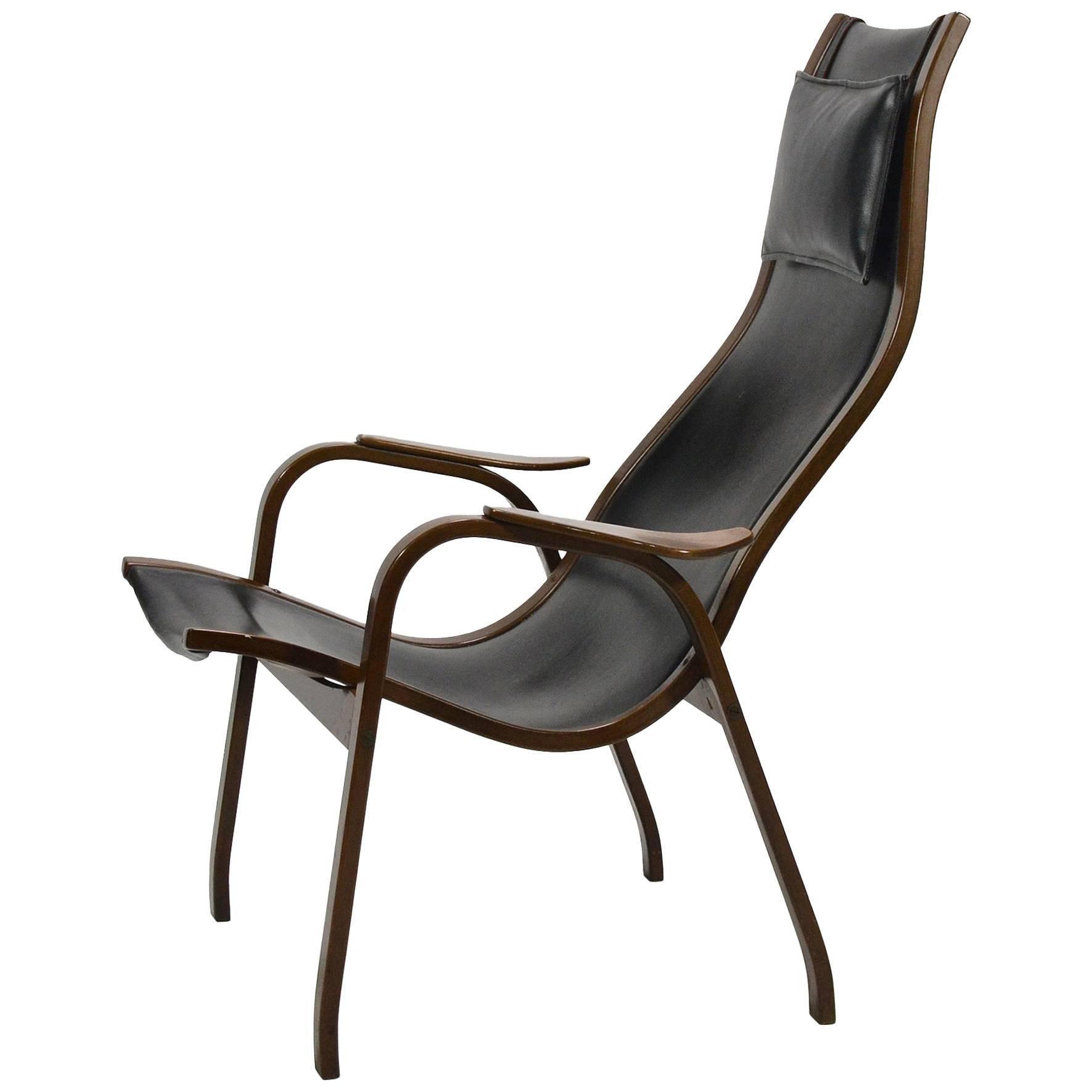 Yngve Ekström Leather Kurva Lounge Chair