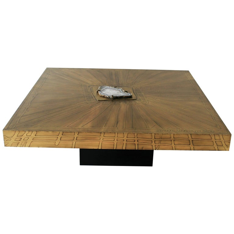 Square Coffee Table Nr1 by Belgali Acid Etched Brass and Agate Slice