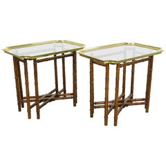 Pair of Brass Trim and Glass Tray-Top Faux Bamboo Side/End Tables by Baker