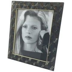 R & Y Augousti Paris Shagreen Marble and Metal Geometric Picture Photo Frame