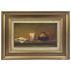 Pierre Saez France Oil on Board Painting Classic Still Life Study