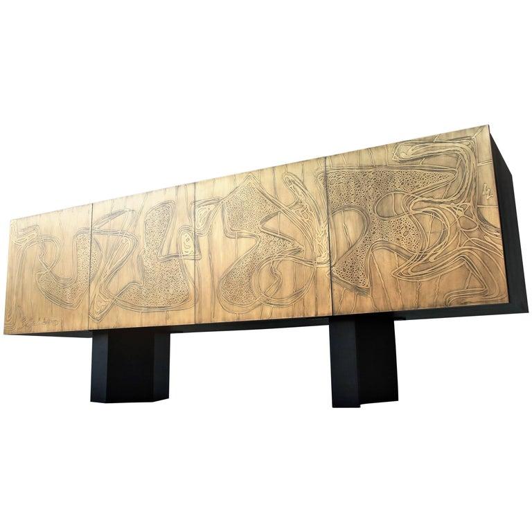 Four-Door Acid Etched Brass Sideboard by Studio Belgali