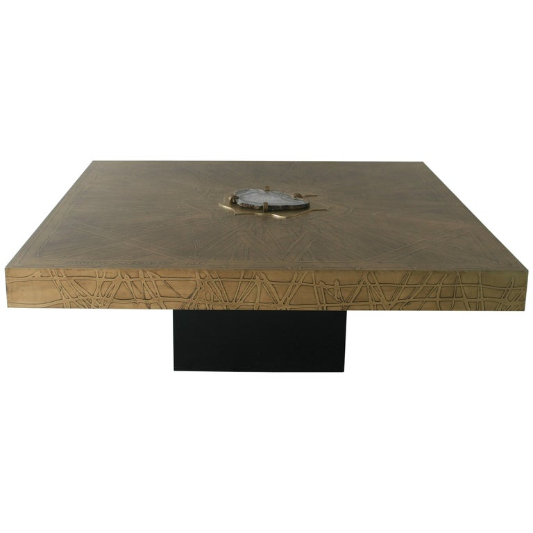 Square Coffee Table Nr2 by Belgali. Acid Etched Brass and Agate Slice