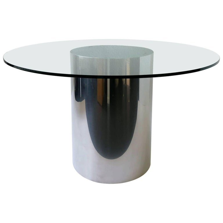 Polish Stainless Steel and Glass Drum Dining Table by Brueton