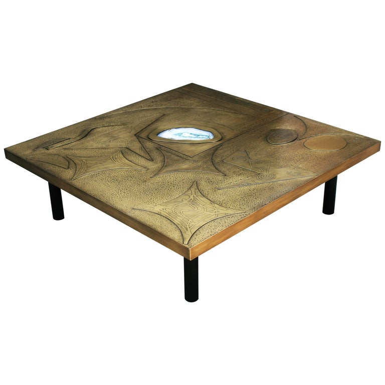 Brutalist Square Coffee Table Nr1 by Belgali Acid Etched Brass and Agate Slice
