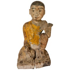 Burmese Buddhist Wood Carving, Sitting Monk or Teacher, Early 20th Century