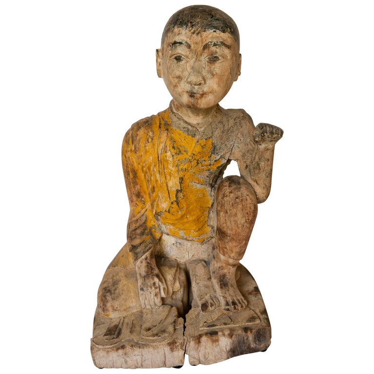 Burmese Buddhist Wood Carving, Sitting Monk or Teacher, Early 20th Century For Sale
