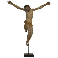 17th Century Italian Baroque Carved Wooden Christ Figure