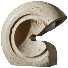 Travertine Table Lamp by Giuliano Cesari for Sormani