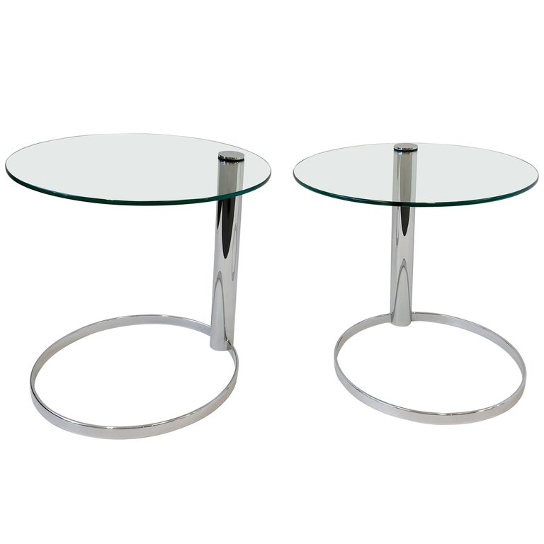 Pair of Chrome and Glass Side Tables by John Mascheroni for Swaim For Sale