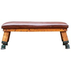 Vintage Leather Gym Bench, 1930s