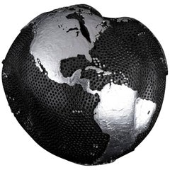 Contemporary Globe with Silver Hammered Holes and Graphite Finish, 30cm
