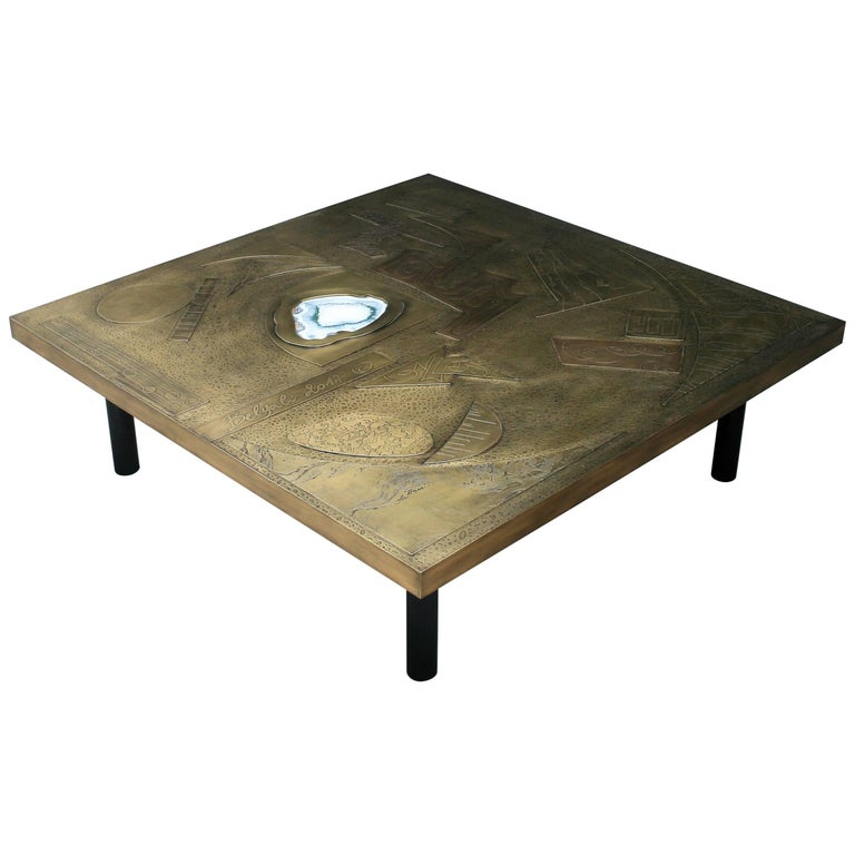 Brutalist Square Coffee Table Nr2 by Belgali Acid Etched Brass and Agate Slice