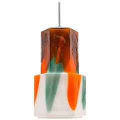 Large Colorful Glass Pendant by Helena Tynell, 1960s
