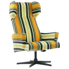 Midcentury Swivel Wing Chair in Original Stripped Fabric, Czechoslovakia, 1960