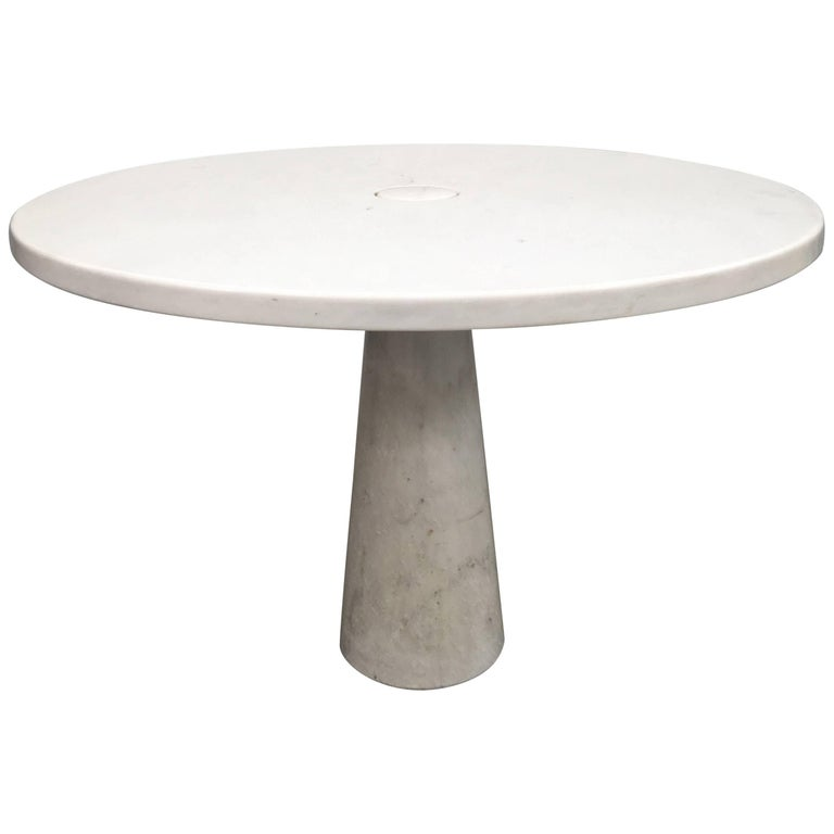 Italian White Marble Centre Table by Angelo Mangiarotti