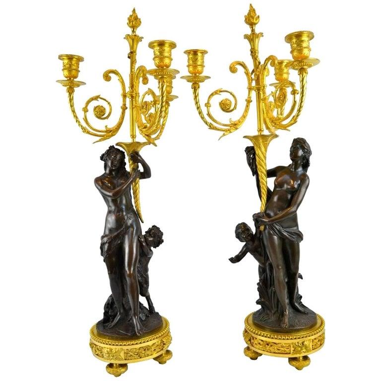 Pair of Bronze Louis XVI Style Figural Candelabra