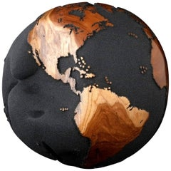 Contemporary Globe in Teak Root with Volcanic Sand and Natural Holes, 30cm