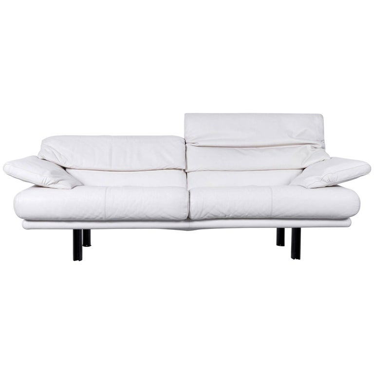 B&B Italia Alanda Designer Sofa Leather off White Three-Seat Modern