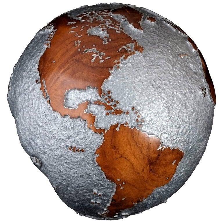 Contemporary HB Globe in Teak Root with Aluminium Finish, 20cm For Sale