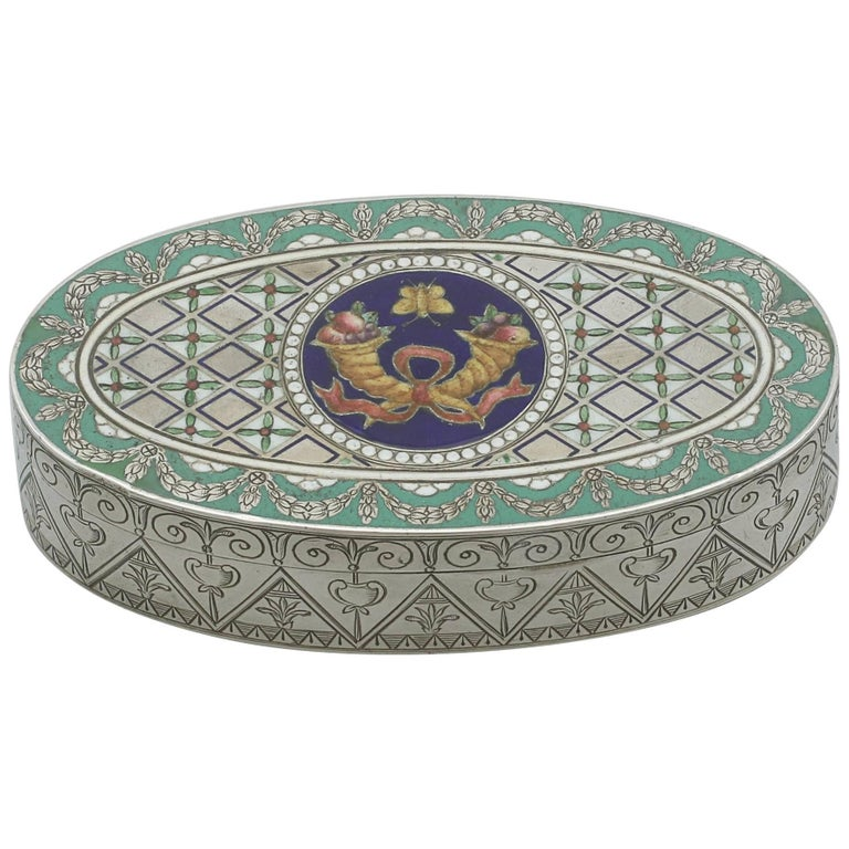 19th Century Victorian Sterling Silver and Enamel Box