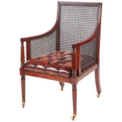 Fine Regency Mahogany Bergere Library Chair