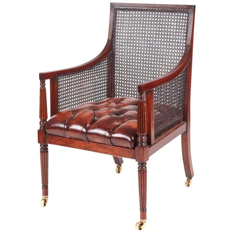Fine Regency Mahogany Bergere Library Chair