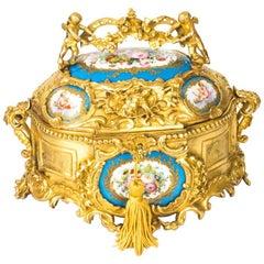 Antique Gilt Bronze Casket Inset Sevres Porcelain Plaques, 19th Century