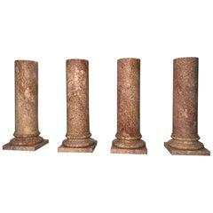 20th Century, Italian Specimen Marble Set of Four Pedestals Classical Roman