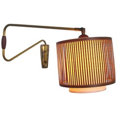 Danish Brass Wall Sconce with Teak Veneer from the 1950s